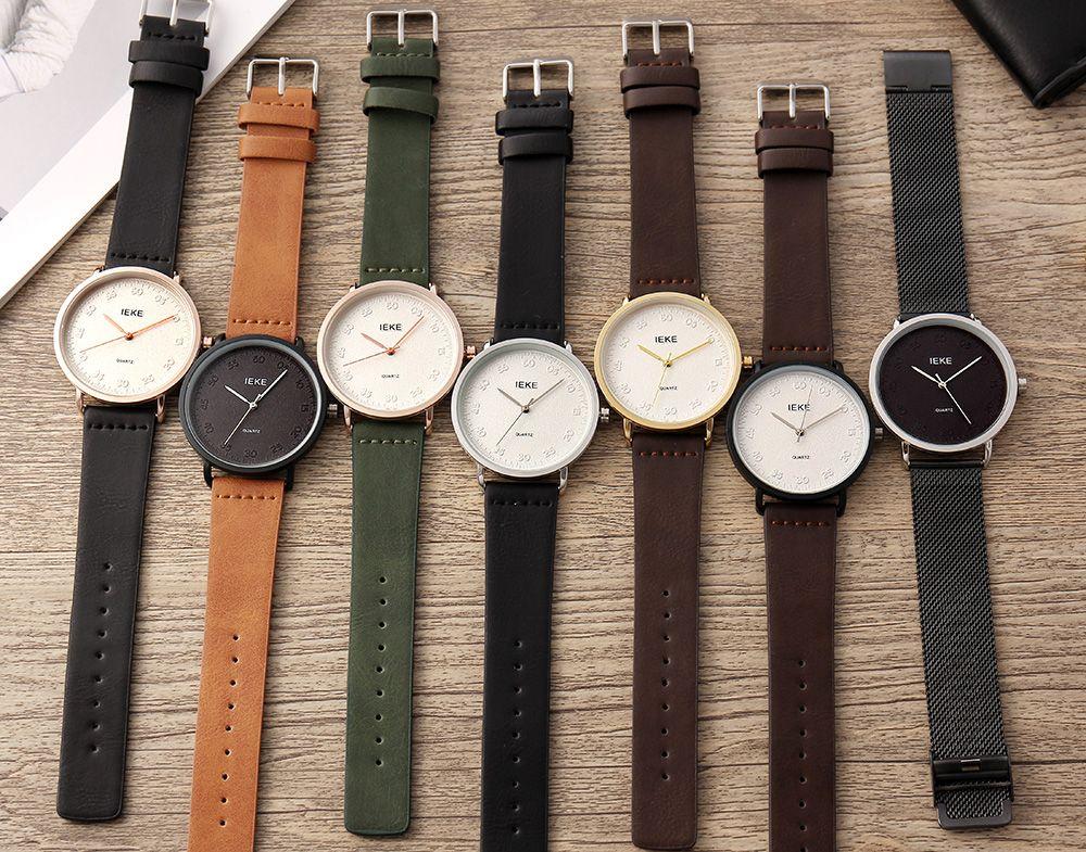 IEKE 89012 Fashion New Casual Leather Men Quartz Wristwatch