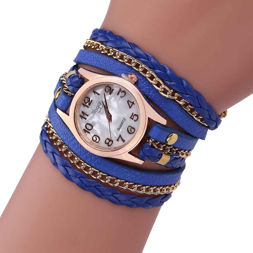 Women's Style Can Be Wound Around Three Rings of Bracelet Quartz Watch