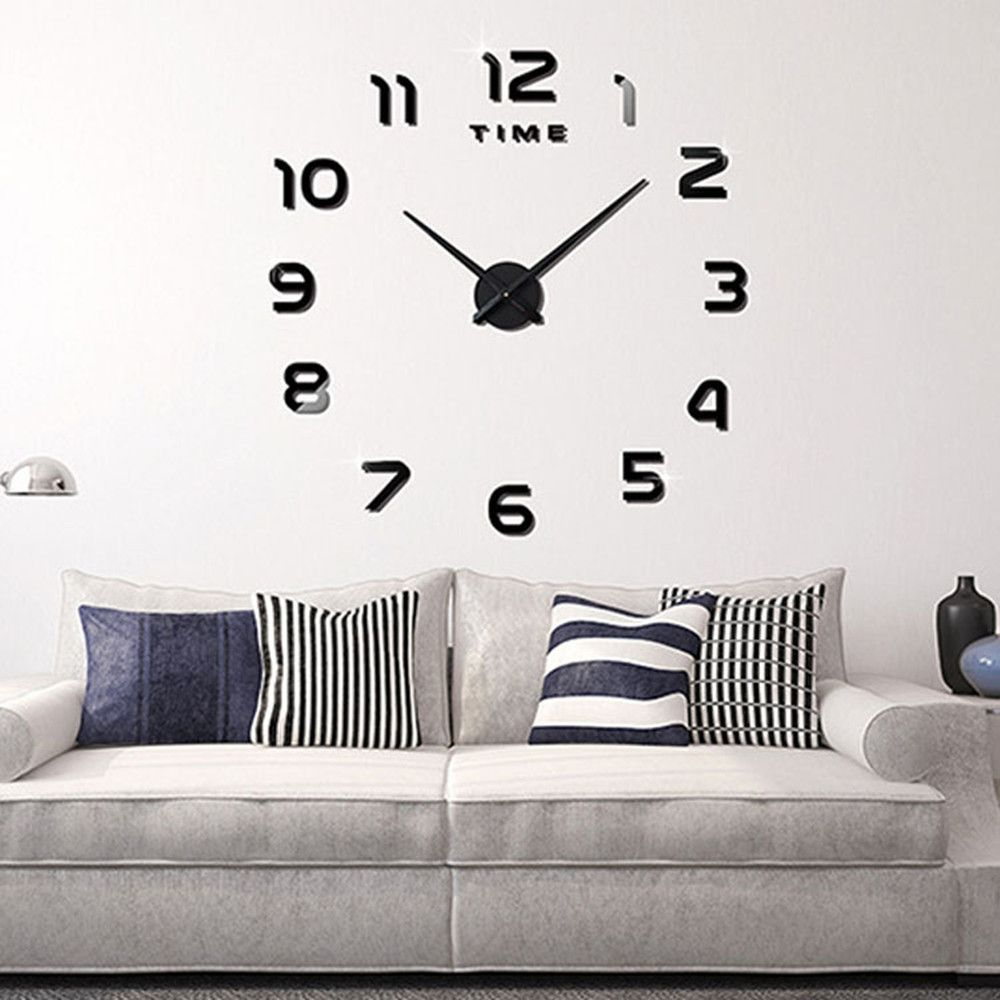 2018 Living Room Big Clock 3D Creative Art Wall Stick Watch DIY ...