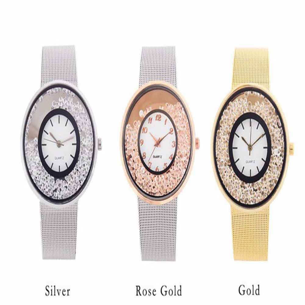 Women Fashion Simple Artificial Diamond-encrusted Steel Quartz Watch