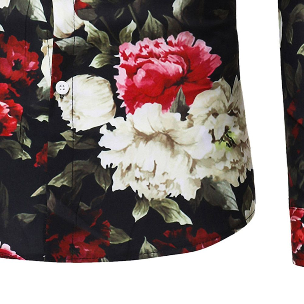 2018 New Foreign Trade New Men's Flower Print Long-Sleeved Shirt