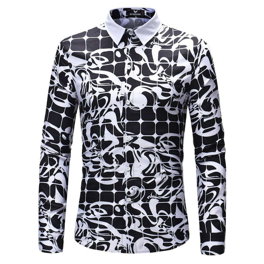 2018 New Men's Long Sleeve Mesh Print Shirt
