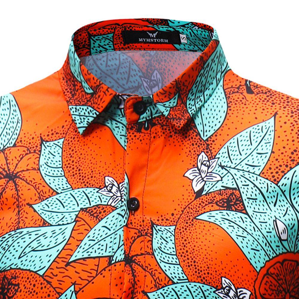 2018 New Men's Long Sleeved Green Leaf Orange Print Shirt