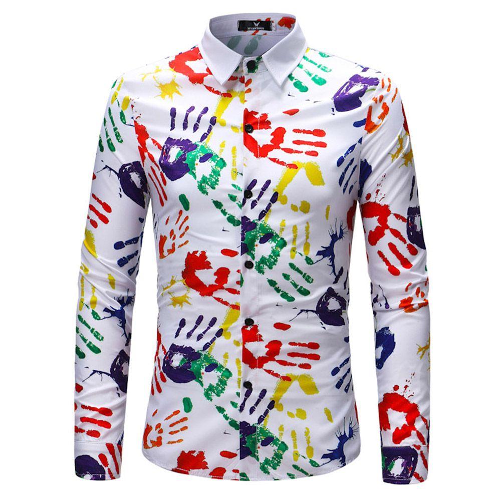 2018 New Men's Long Sleeve Print Shirt