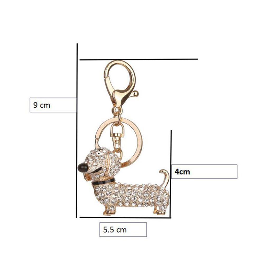Alloy Diamond Cute Dachshund Dog Keychain