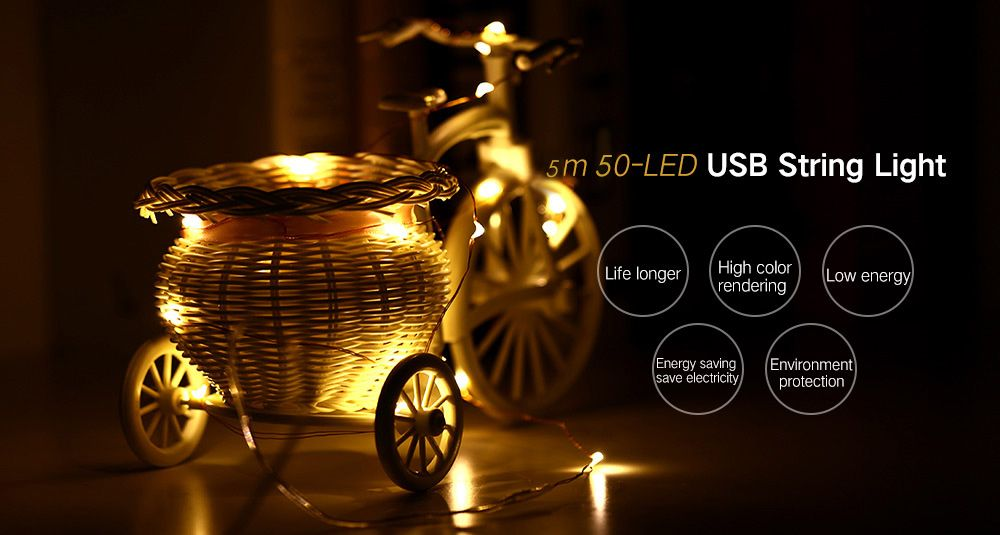 5m 50-LED USB String Light for Decoration