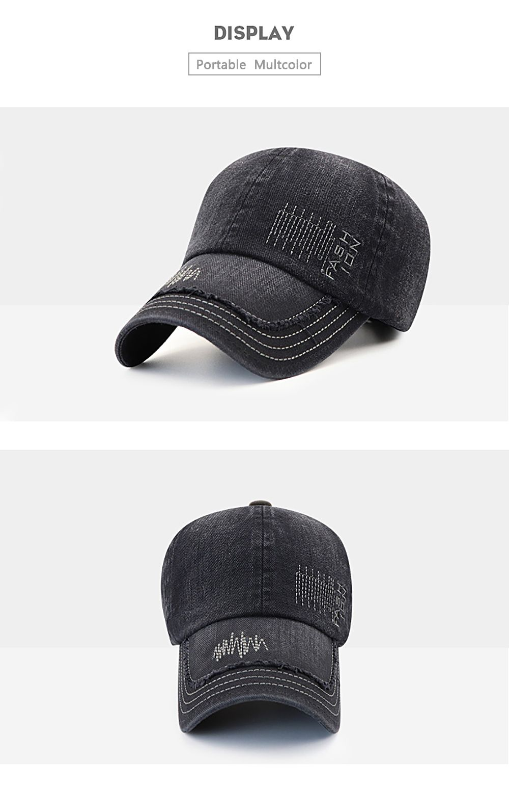 Cowboy Washed Embroidered Letters Sunscreen Cotton Outdoor Baseball Cap a917f77c2