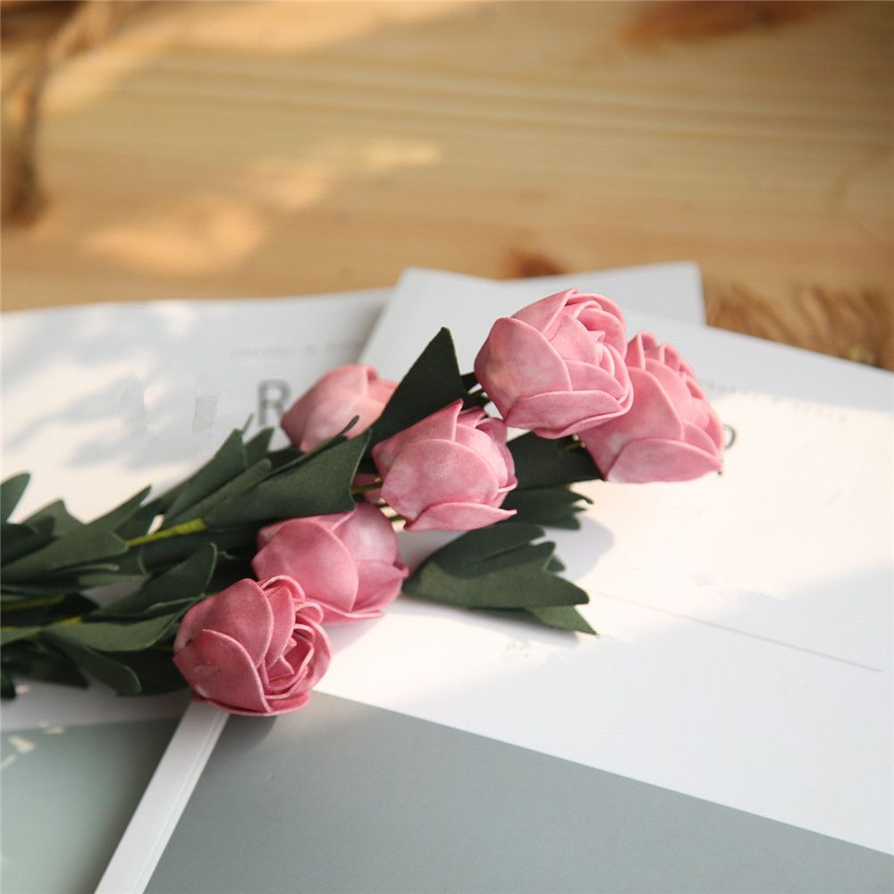 2018 Vivid Tulip Artificial Flower Bridal Bouquet Wedding Home Party