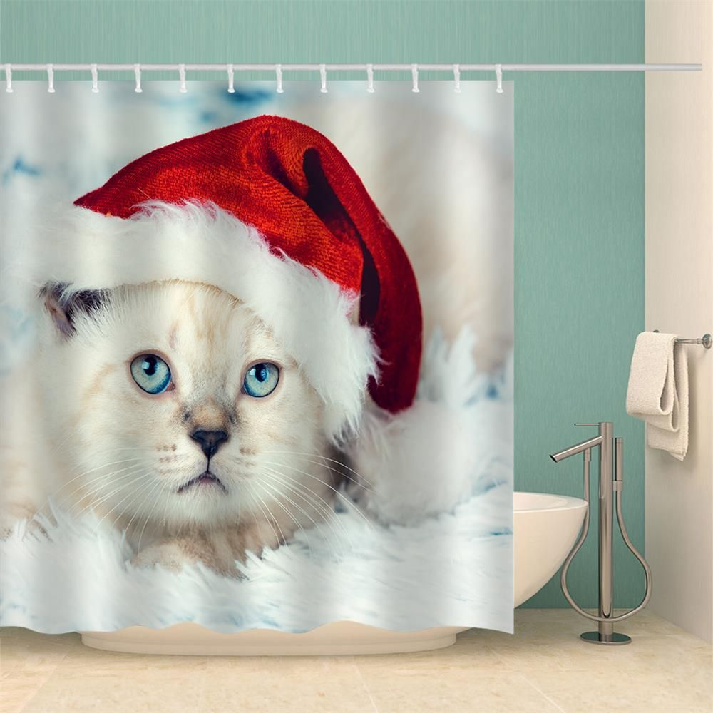 2019 Cat In Christmas Hat Water Proof Polyester 3D Printing Bathroom Shower Curtain Multicolor 180 200