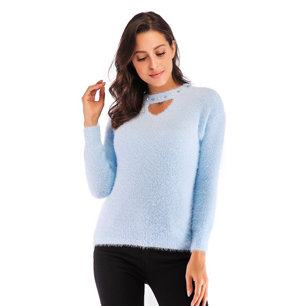 Autumn and Winter New women S Sweet Hollow Beaded Thick Pullover Sweater cd96f1f41