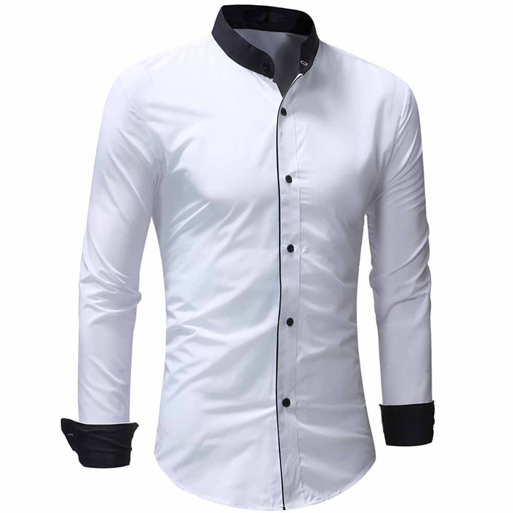 2019 Mens Fashion Contrast Color Stand Collar Access Control