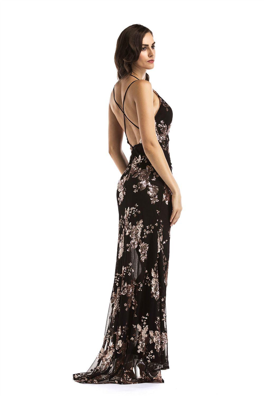 6ebbb81b3a 2019 Sexy Suspenders Open Back Dress Deep V-Neck Split Mopping Dress In  BLACK XL