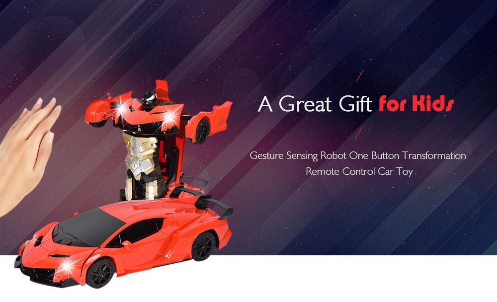 Gesture Sensing Robot One Button Transformation Remote Control Car Toy