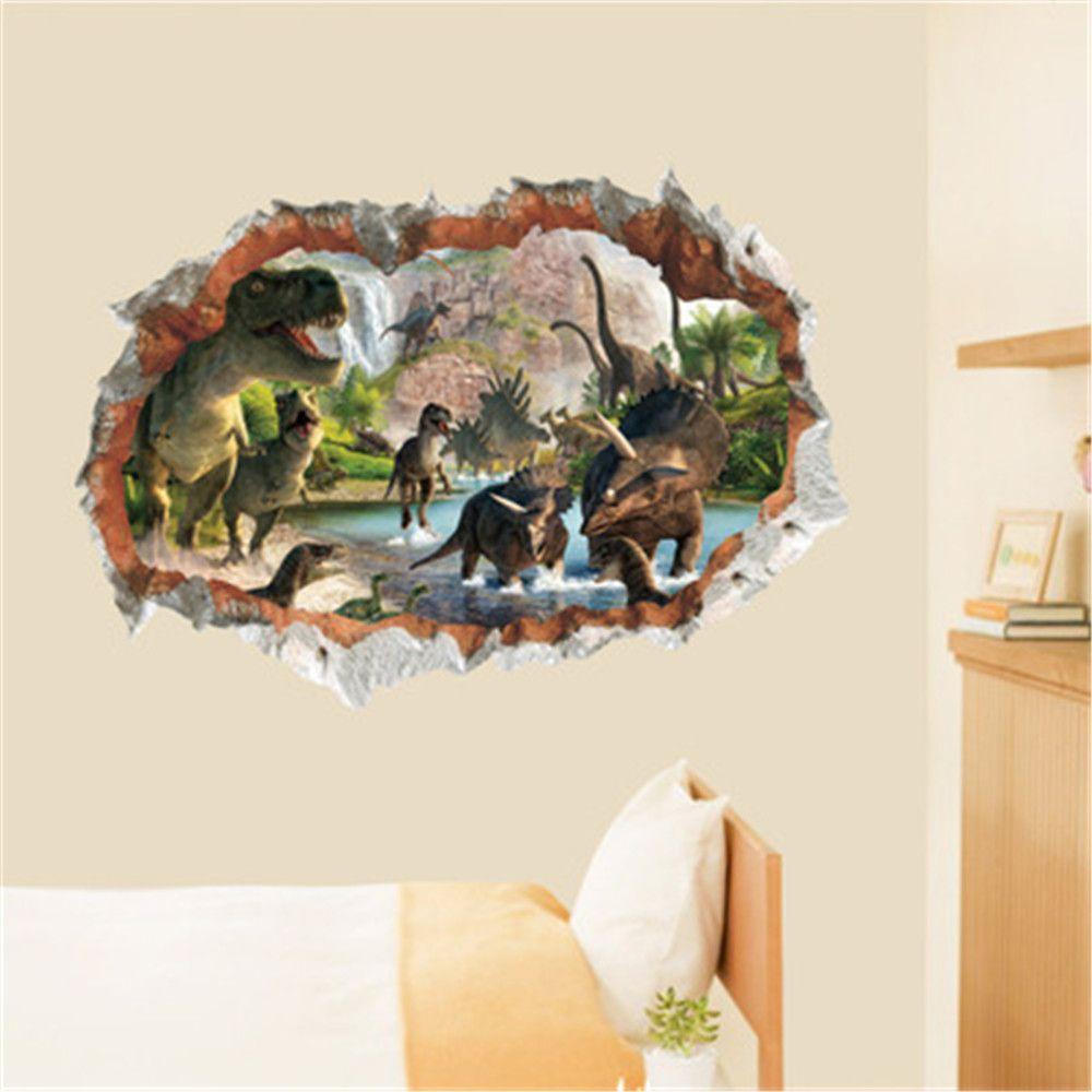 2019 3D Wall Sticker Dinosaur Smashed Window Kids Room Decoraton Vinyl  Decals In Multicolor A 20 X 28 INCH | DressLily.com
