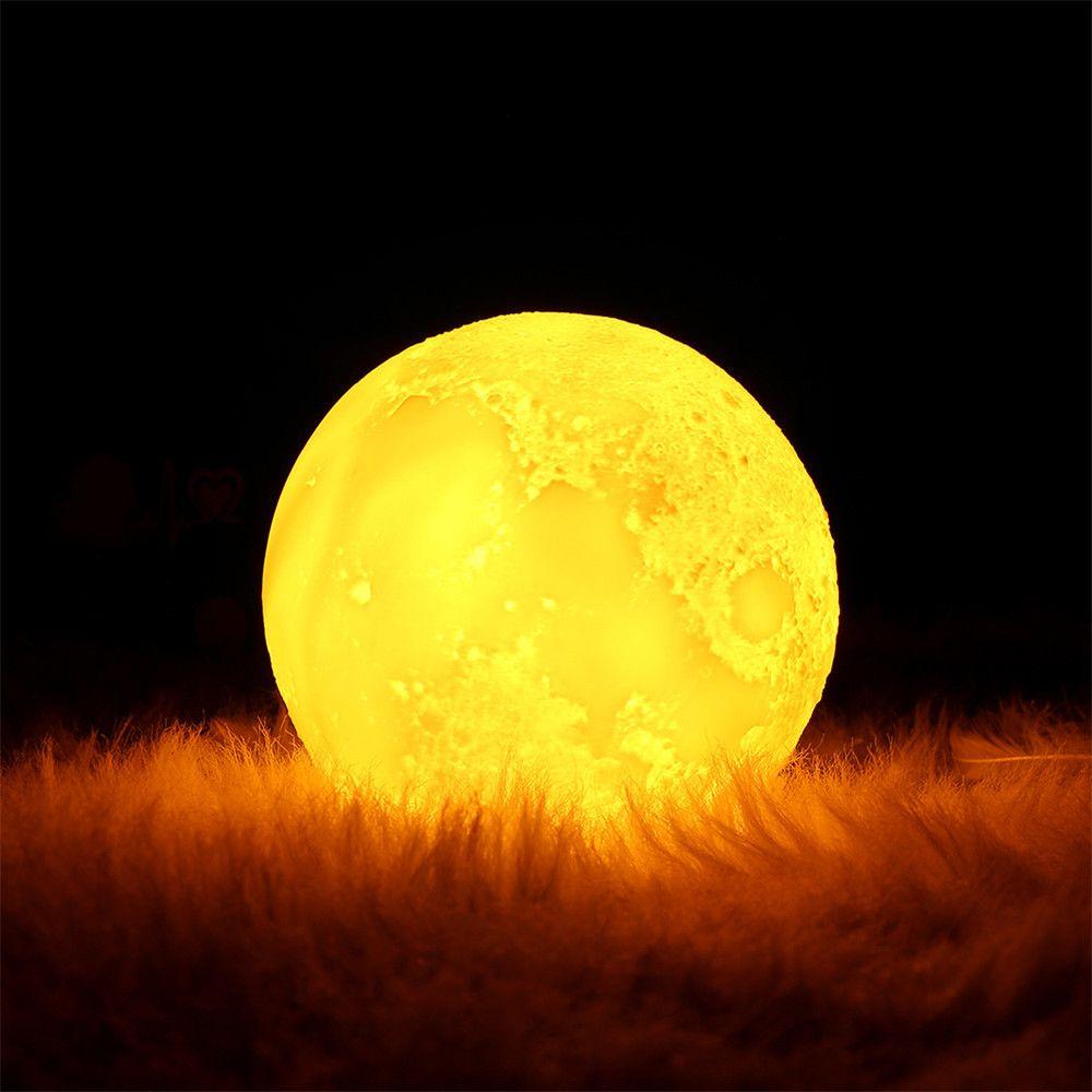2019 three color lighting 3d printing led moon lamp lighting for