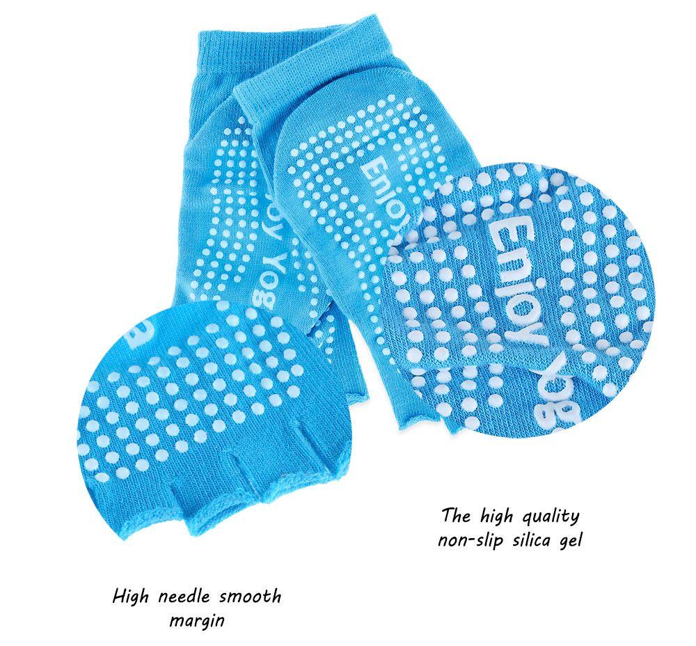 Women Yoga Dance Sports Pilates Anti-Slip Exercise Massage Half Toe Socks