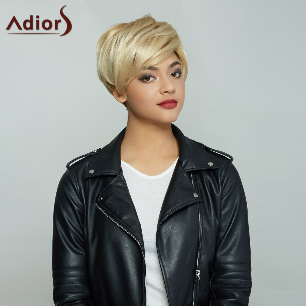 Golden Mixed Side Bang Short Fluffy Handsome Synthetic Hair Wig