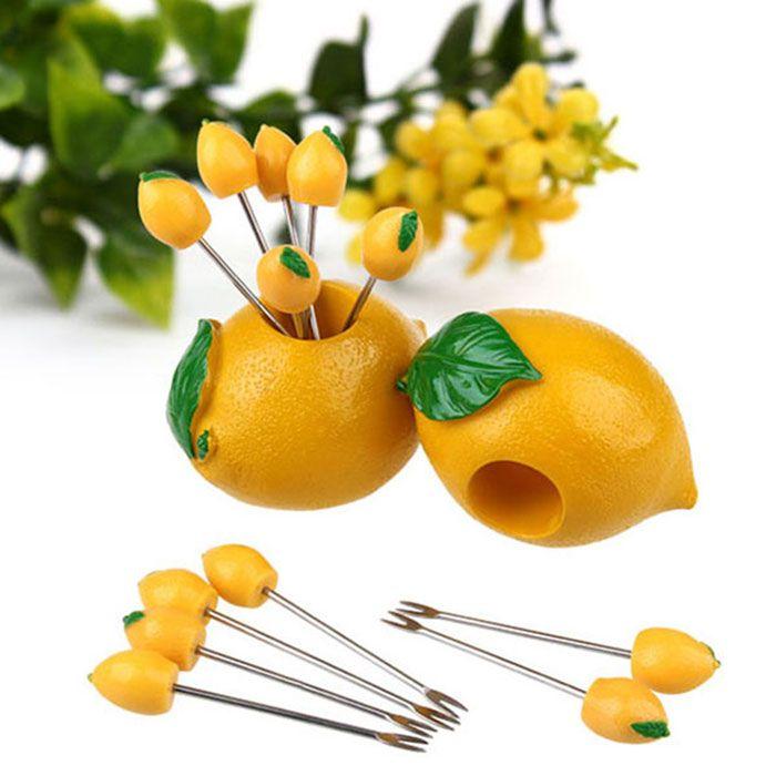 Cute Plastic Lemon Stainless Steel Fruit Fork Set Novelty Gift