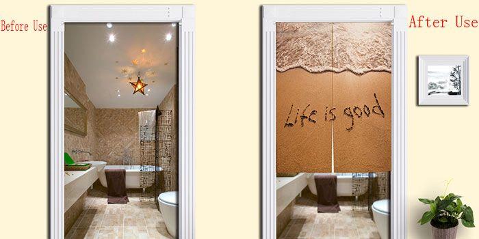 Beach Words Print Bathroom Door Curtain