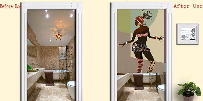 Indian Beauty Pattern Bathroom Door Curtain