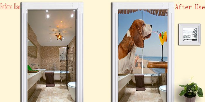 Dog Drink Juice Pattern Door Hanging Curtain