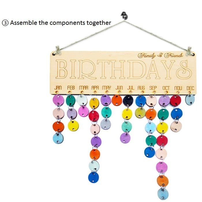 DIY Colorful Wooden Family And Friends Birthdays Calendar Reminder Board