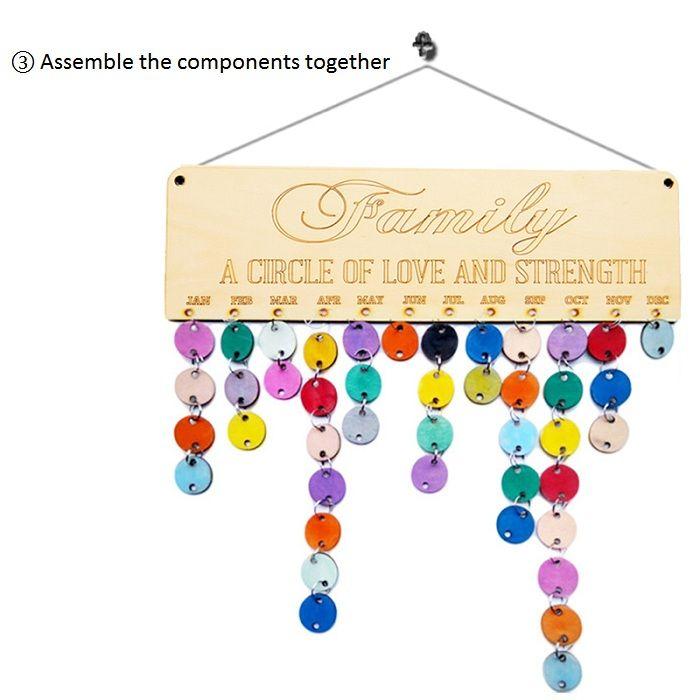 DIY Colorful Wooden Family Birthday Calendar Reminder Board