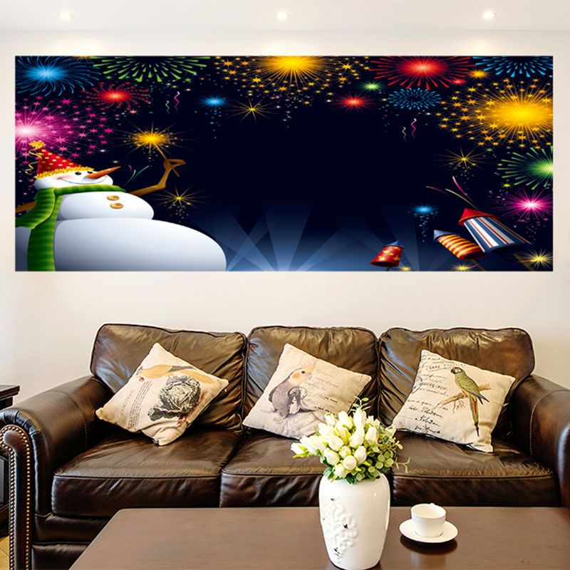 Christmas Snowman Fireworks Pattern Wall Art Painting